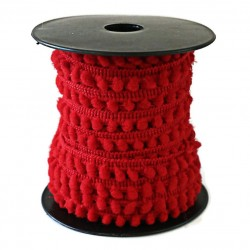 Les minis Galon de mini pompons - Rouge - 10 mm babachic
