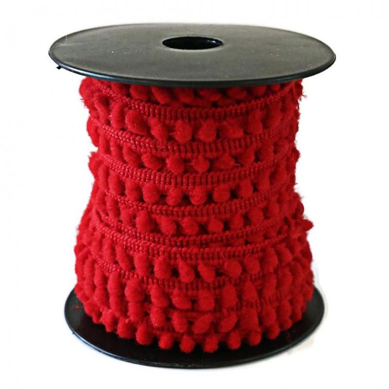 Galon de mini pompons - Rouge - 10 mm