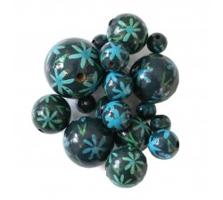 Flowers Wooden beads - Daisy - Blue Babachic by Moodywood