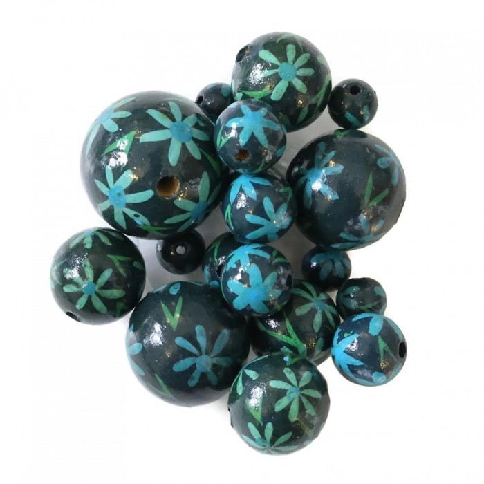 Perle en bois - Daisy - Bleu
