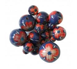 Perles en bois Perle en bois - Hibiscus - Bleu et rouge Babachic by Moodywood