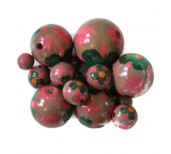 Flowers Wooden beads - Hibiscus - Pink and brown