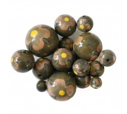 Flowers Wooden beads - Hibiscus - Kaki and salmon Babachic by Moodywood