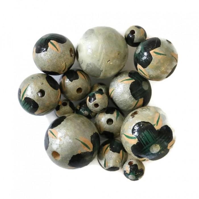 Perle en bois - Hibiscus - Argenté et noir