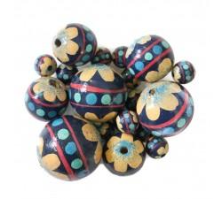 Perle en bois - Circus - Bleu et beige