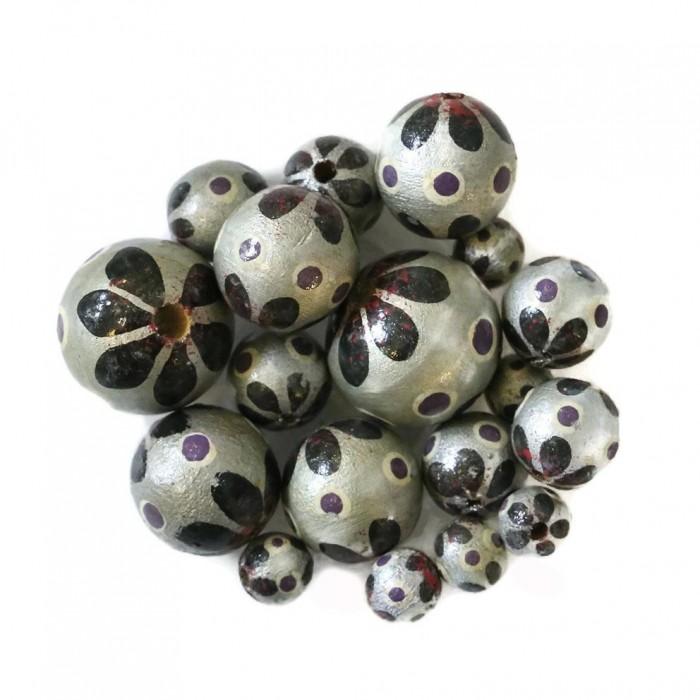 Perle en bois - Circus - Argenté et noir