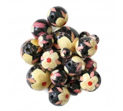 Flowers Wooden beads - Hibiscus - Black, beige and pink Babachic by Moodywood