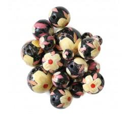 Fleurs Perle en bois - Hibiscus - Noir, beige et rose Babachic by Moodywood