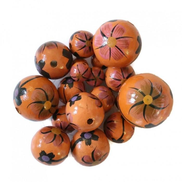 Perle en bois - Dalia - Orange et noir