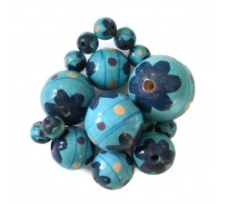 Flowers Wooden beads - Circus - Blue Babachic by Moodywood
