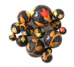 Flowers Wooden beads - Tulipa - Brown and orange Babachic by Moodywood