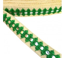 Embroidery Embroidered mirors ribbon - Green - 30 mm