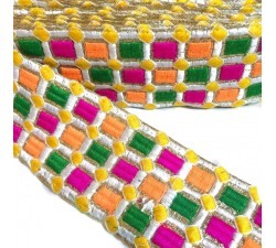 Embroidery Embroidered braid - Mosaic - Pink, green, orange, white and yellow - 65 mm