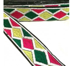 Embroidery Harlequin embroidery - Pink, yellow, green and white - 45 mm