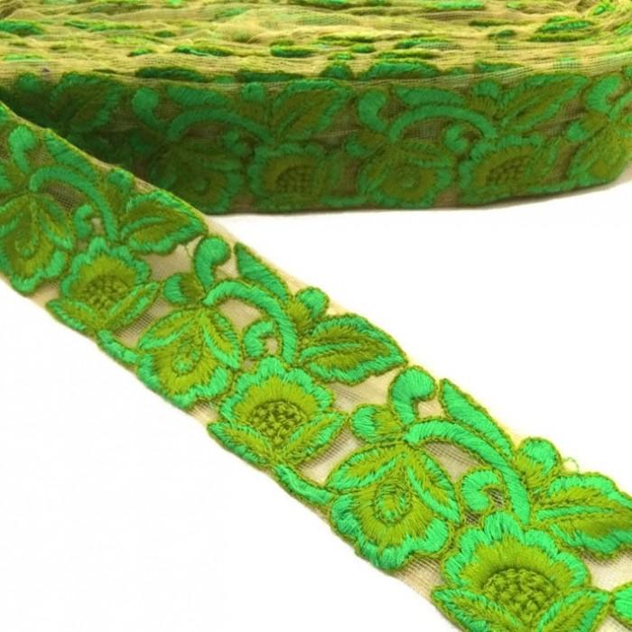 Tul bordado - Verde - 45 mm