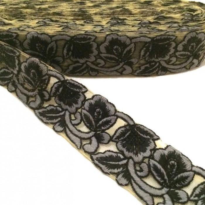 Tul bordado - Negro y gris - 45 mm