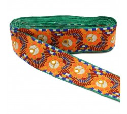 Bordado Pasamanería bordada - Flores y espejos - Multicolores - 70 mm
