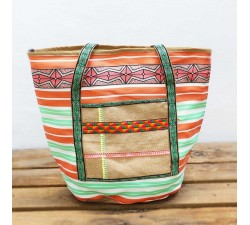 Tote bags Big bag - Nylon and jute - Orange Babachic by Moodywood