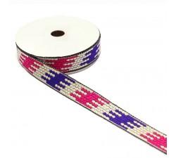 Rubans Ruban graphique - Puzzle - Violet, blanc et rose - 20 mm babachic