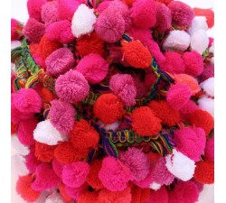 Les grands Galon Pompons XL - Rose, rouge et blanc - 45 mm babachic