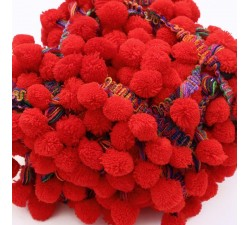 Les grands Galon Pompons XL - Rouge - 45 mm babachic