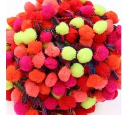 Pompones Galón Pompones XL - Rojo, rosa, naranja y amarillo - 45 mm babachic
