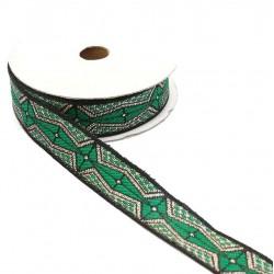 Rubans Ruban graphique - Aztèque - Vert, noir et argenté - 20 mm babachic