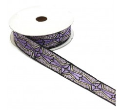 Ribbons Graphic ribbon - Aztec - Light purple, black and silver - 20 mm babachic