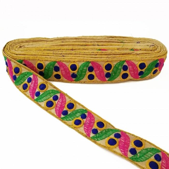 Passementerie en coton brodée de feuilles et petits cercles pleins - Vert, rose et bleu marine - 35 mm