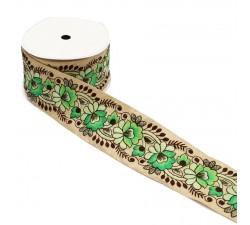 Bordado Bordado vintage - Flores verdes - 80 mm