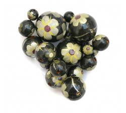 Flowers Wooden beads - Hibiscus - Black, silver and yellow Babachic by Moodywood