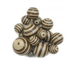 Cuentas de madera - Rayas - Beige y marrón