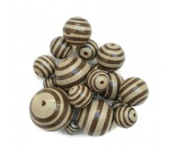 Stripes Wooden beads - Stipes - Beige and brown Babachic by Moodywood
