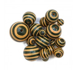 Stripes Wooden beads - Stipes - Black and beige Babachic by Moodywood