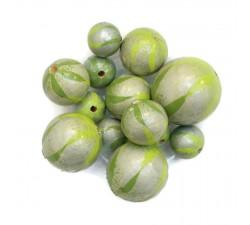 Perle en bois - Zébrée - Vert et argenté