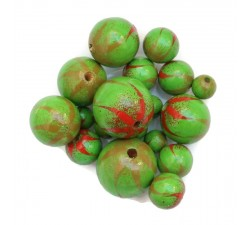 Zebra Wooden beads - Zebra - Red and green Babachic by Moodywood