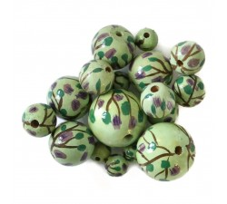 Flowers Wooden beads - Grimpante - Green and purple Babachic by Moodywood