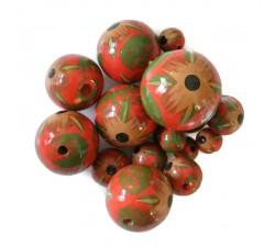 Abalorios Cuentas de madera - Hibiscus - Rojo y verde