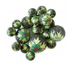 Flowers Wooden beads - Flame - Green kaki Babachic by Moodywood
