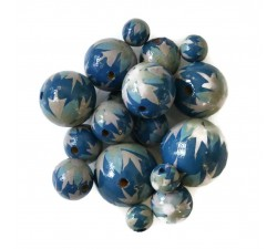 Flowers Wooden beads - Flame - Blue and grey Babachic by Moodywood