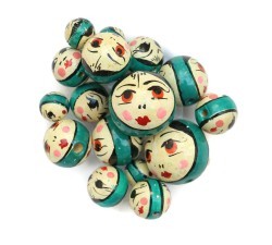 Faces Wooden beads - Doll - Dark turquoise Babachic by Moodywood