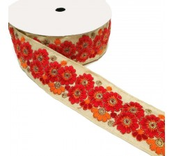 Ribbons Indian trimming - Marguerite - Red - 45 mm