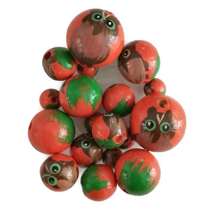 Perles en bois - Hibou - Orange et vert