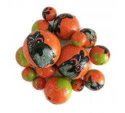 Animals Wooden beads - Owl - Orange and black Babachic by Moodywood