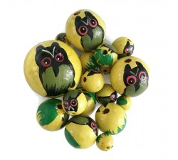 Animals Wooden beads - Owl - Yellow Babachic by Moodywood
