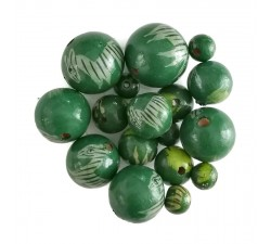 Animals Wooden beads - Zebra - Green Babachic by Moodywood