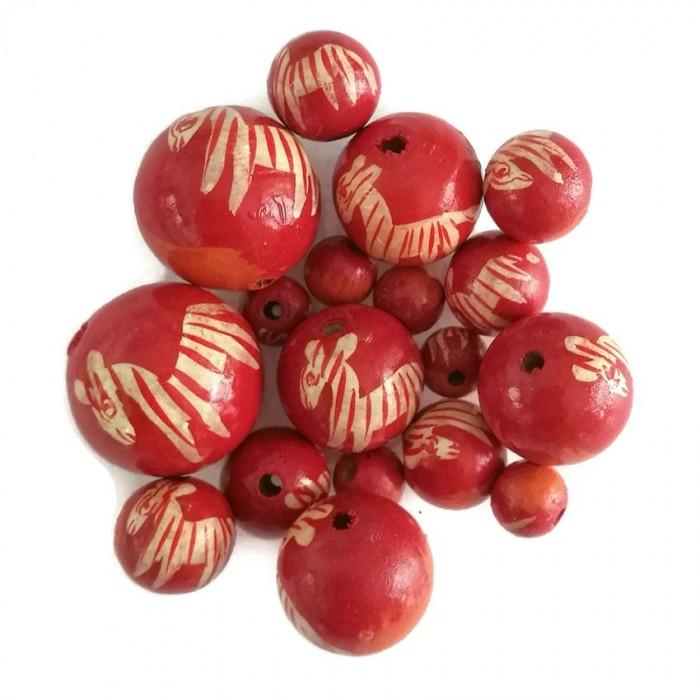 Perles en bois - Zèbre - Rouge et orange