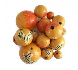 Animals Wooden beads - Zebra - Yellow Babachic by Moodywood