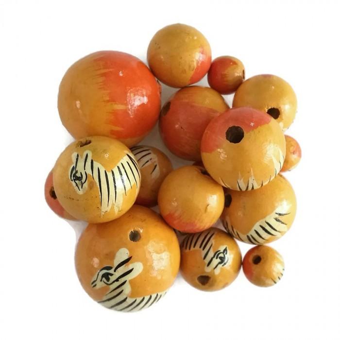 Perles en bois - Zèbre - Jaune
