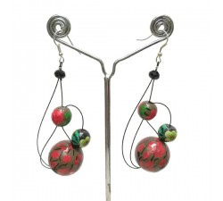 Earrings Earrings Green/red - 6 cm - Winter nights Babachic by Moodywood
